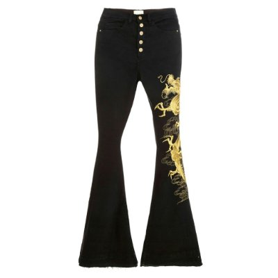 Calça Flare High Waisted Dragão Dourado Black