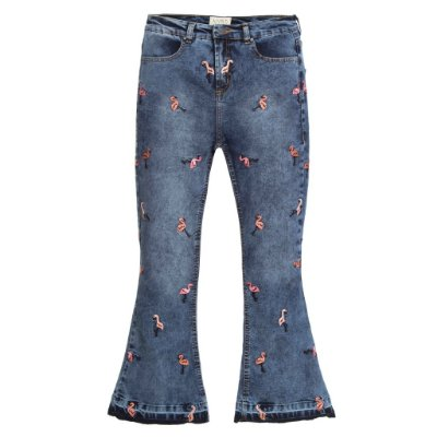 Calça Cropped Flare High Waisted  Pois Flamingo