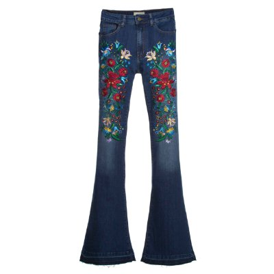 Calça Flare Middle High Waisted Flor Vintage