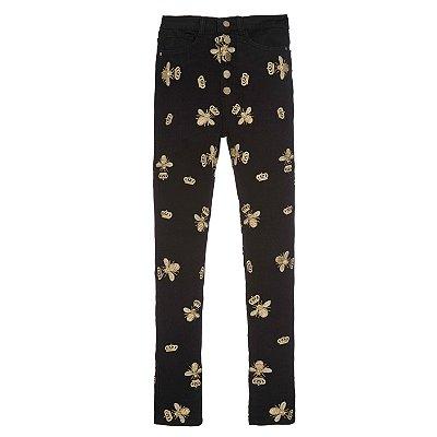 Calça Skinny High Waisted Preta Abelhas Douradas