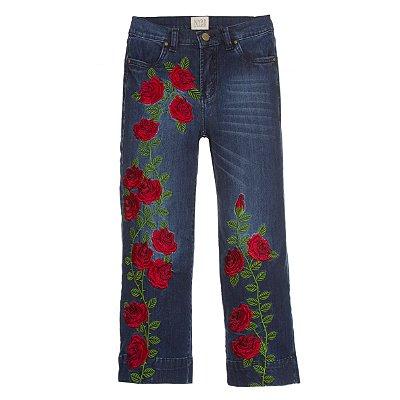 Calça Pantacourt Rosas Vermelhas