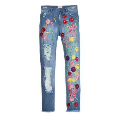 Calça Boyfriend Floral Destroyed