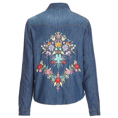 Camisa Jacket Flores Color Escura