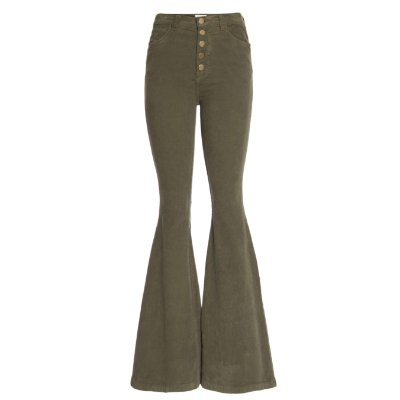 Calça Flare Veludo High Waisted Middle Militar