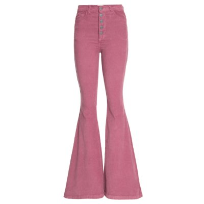 Calça Flare Veludo High Waisted Middle Blush