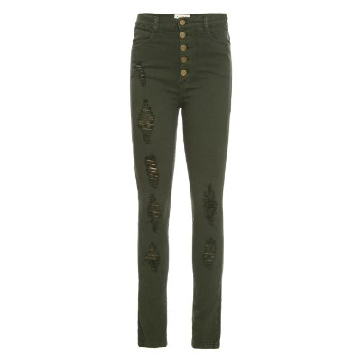 Calça Skinny High Waisted Militar Destroyed