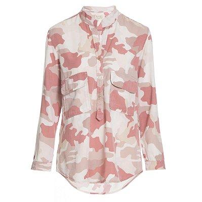 Camisa Bolso Baixo Camuflado Rosa