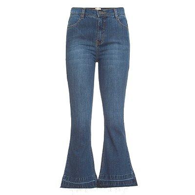 Calça Cropped Flare Jeans Escura
