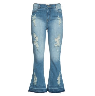 Calça Cropped Flare Jeans Destroyed