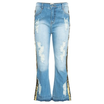 Calça Cropped Flare Jeans Destroyed Listra Paete