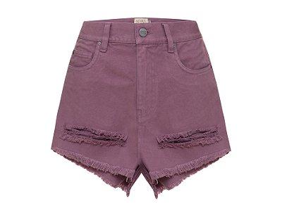 Shorts Destroyed Lilás Mica Rocha