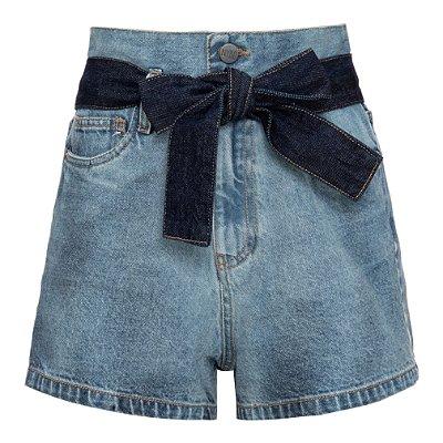Shorts Jeans High Waisted Com Faixa