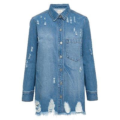 Camisa Jaquetão Jeans Destroyed