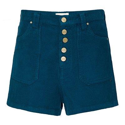 Shorts 5 botões Veludo Petróleo