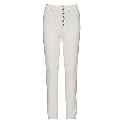 Calça Skinny de Couro Ecológico Off White