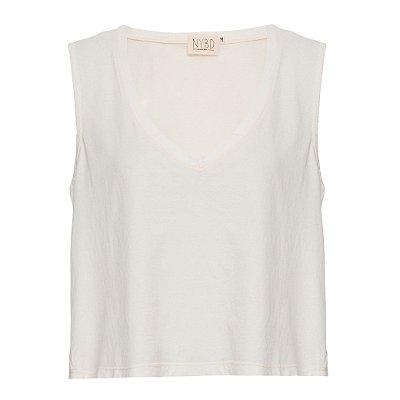 Camiseta Decotão Cropped OFF  white