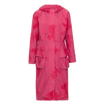 Parka Longa de Sarja Empapelada Rosa Tie Dye