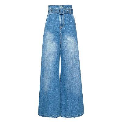 Calça Pantalona Cinto Escura