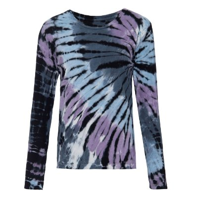 Camiseta básica manga longa tie dye Preto