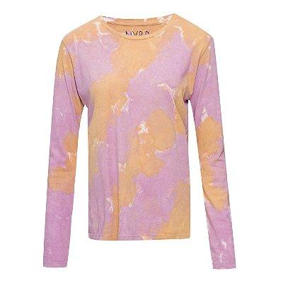 Camiseta básica manga longa tie dye Rosa