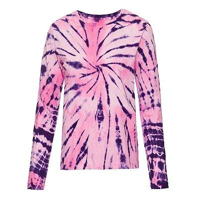 Camiseta básica manga longa tie dye 2 Rosas
