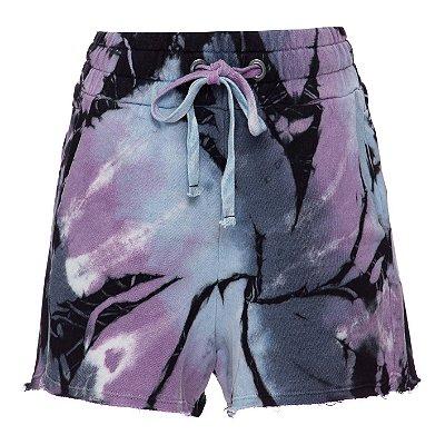 Shorts Moletom Tie Dye Preto
