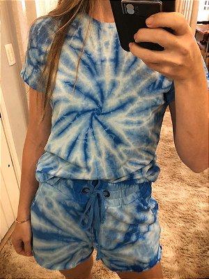 Camiseta Básica Tie Dye Azul Claro