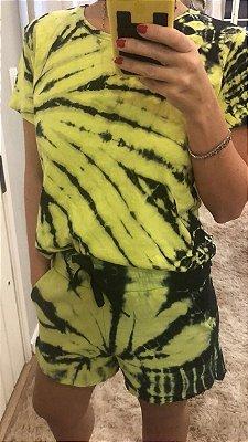 Shorts Moletom Tie Dye Lime