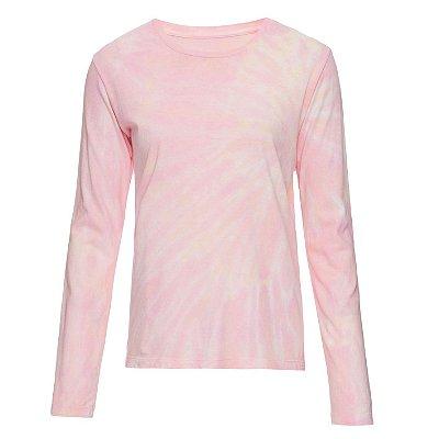 Camiseta básica manga longa tie dye Sunset