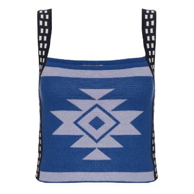 Cropped Jaquard Azul