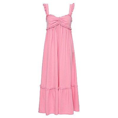Vestido Babados Rosa Chiclete