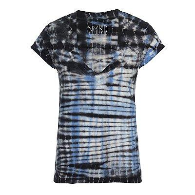 Camiseta Tie Dye Xadrez Azul