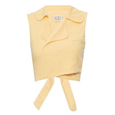 Top Cropped Camisa sem Manga Amarelinho