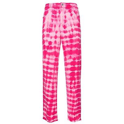 Calça Reta Moletom  Tie Dye Pink