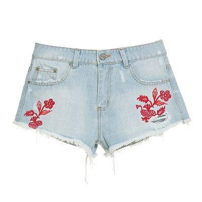 Shorts Flores Vermelhas