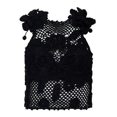 Crochet Orquidea Preto