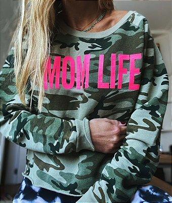 Moletom Mom Life Camuflado Pink