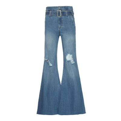 Calça Flare Cinto Jeans