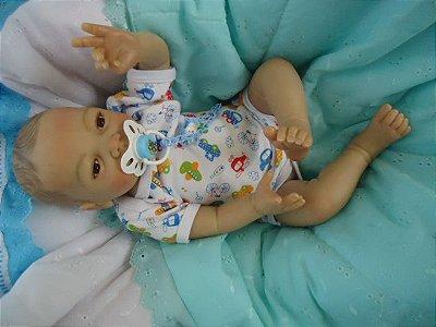 Bebê Reborn, menino, com 2,4 kg e 52 cm aproximadamente, cabelos pintados