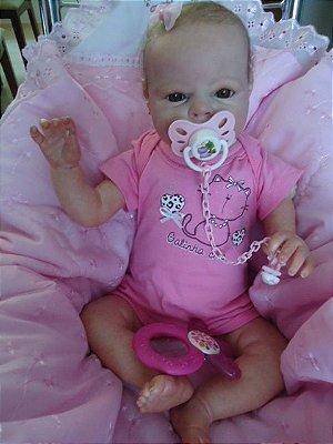 Bebê reborn menina com 2,25 kg e 52 cm aproximadamente, olhos e cabelos castanhos