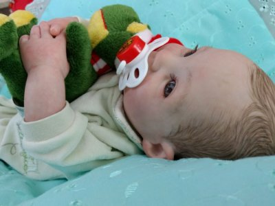 Bebê reborn menino com 1,6 kg e 42 cm aproximadamente, cabelos pintados e corpo em tecido