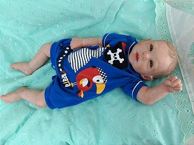 Bebezinho reborn, olhos claros, molde importado. Cabelos castanhos pintados - 2,1, kg e 53 cm