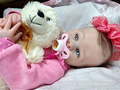 Bebê reborn menina, cabelos enraizados, olhos azuis
