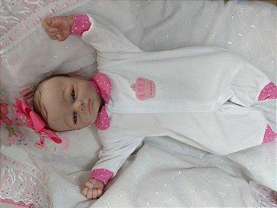 Bebê reborn menina, molde importado, cabelos enraizados, corpo de tecido