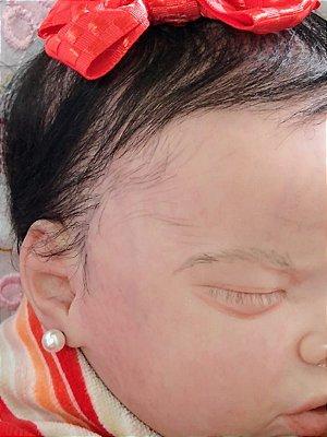 Bebê reborn menina cabelos implantados manchinhas de pele