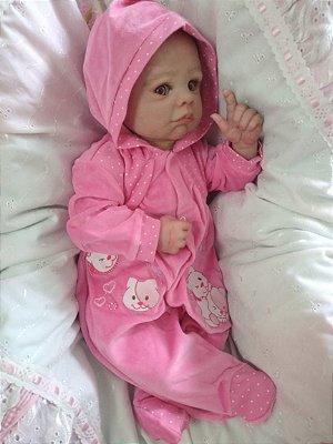 Bebê reborn menina cabelos implantados manchinhas de pelem corpo em tecido