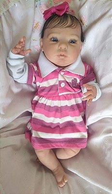 Bebezinha reborn, olhos claros, cabelos enraizados, corpo em tecido