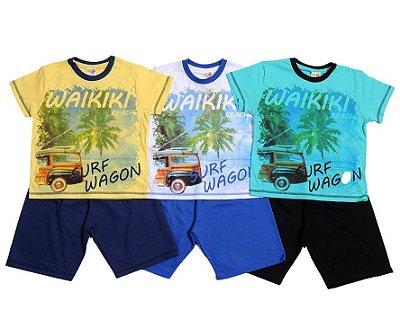 Conjunto Verão Infantil Masculino com Bermuda e Camisa Waikiki Beach Jocaju