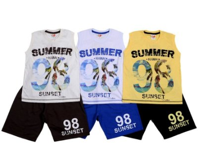 Conjunto Verão Infantil Masculino com Bermuda e Regata Summer Jocaju