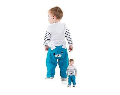 Calça Moletom Bebê Masculina de Ursinho Alekids